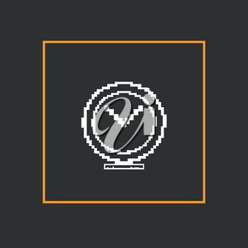Simple stylish pixel clock icon. Vector design.