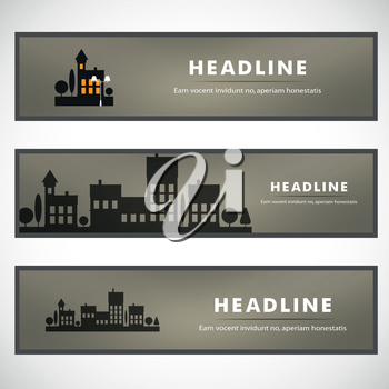 Vector design of black silhouette cityscape eps.