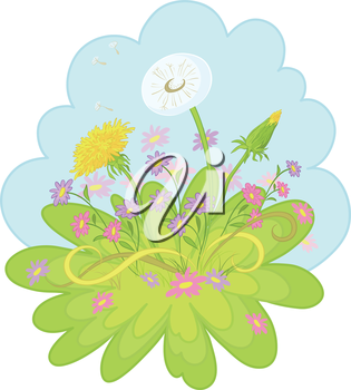 Dandelions and symbolical summer flowers on background of blue sky. Vector