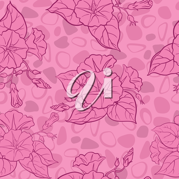 Seamless floral background, ipomoea flowers and abstract pattern. Vector