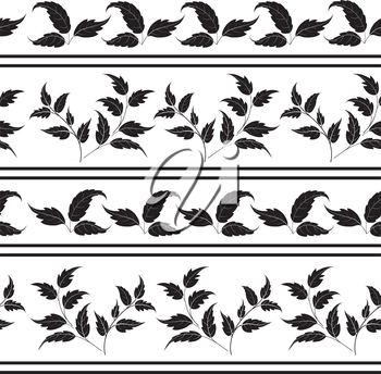 Seamless pattern: plant leaves and lines, black silhouettes on white background. Vector