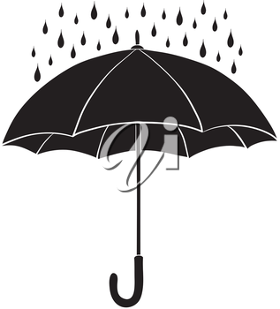 Umbrella and rain drops, black silhouette on white background. Vector illustration