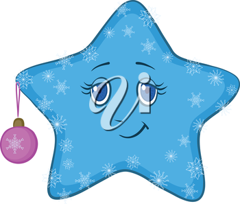 Cartoon blue smiley star with holiday Christmas ball and snowflakes. Vector