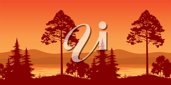 Seamless Horizontal Landscape, Pine Trees and Bushes on the Bank of a Mountain Lake, Silhouettes. Vector