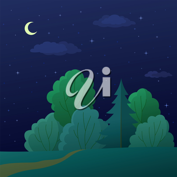 Landscape, night summer forest with green trees and the sky with moon and stars. Vector
