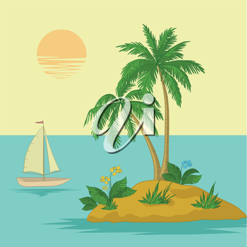 Ship, sun, tropical sea island with palm trees and flowers. Vector