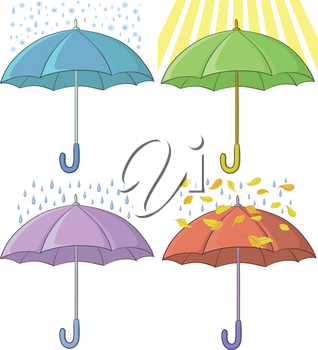 Set of various umbrellas and weather conditions, sun, rain, snow, autumn leaves. Vector