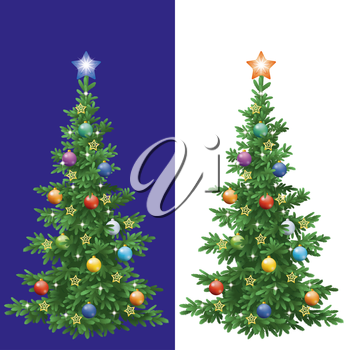Christmas holiday fir tree with decorations: balls and stars, isolated. Eps10, contains transparencies. Vector