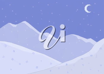 Low Poly Landscape, Night Snowy Mountains and Moon in the Sky. Vector