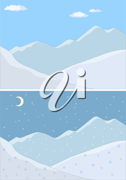 Landscape: the mountains covered with snow, the blue sky and white clouds. Vector