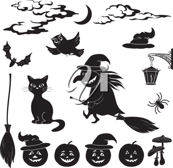 Halloween cartoon, set black silhouette on white background: witch and pumpkin in trolley, ghost, owl, bat, scarecrow, lantern, moon and clouds. Vector