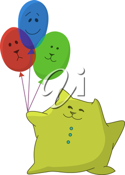 Happy child-pillow with three multi-coloured balloons in his hand