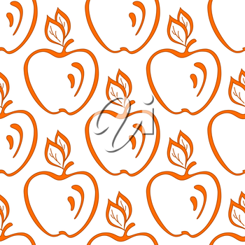 Abstract seamless  background, symbolical fruits, orange apples on white. Vector