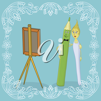 Cartoon family: man pencil, woman brush and easel. Border of white outline symbolic flowers. Vector illustration