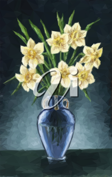 Flowers Narcissus Bouquet in a Green Transparent Glass Vase, Low Poly. VectorFlowers Narcissus Bouquet in a Blue Vase, Low Poly. Vector