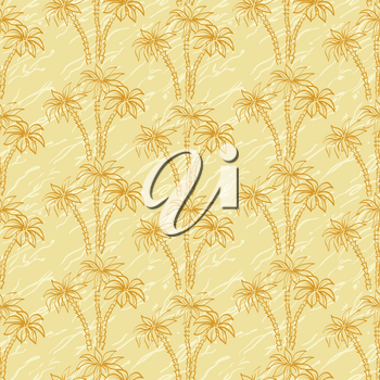 Seamless background, palm trees brown contours and abstract pattern. Vector