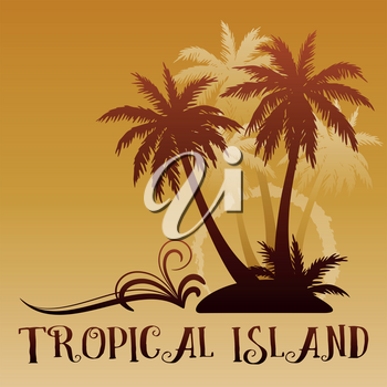 Exotic Background, Tropical Landscape, Palm Trees Brown Silhouettes. Vector