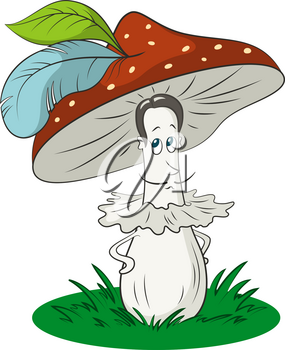 Cartoon Fly-Agaric Mushroom Man on Green Grass, Hat with a Bird Feathers, a Character Symbolizing the Ancient Mustache Gallant Fashion Knight Man. Vector