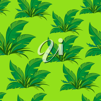 Seamless Floral Pattern, Green Exotic Plants on Green Tile Background. Vector