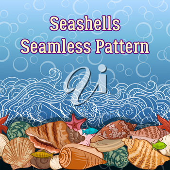 Seamless Horizontal Pattern, Sea Exotic Landscape, Colorful and Contours Seashells, Fishes, Starfish, Wave on a Blue Background with Bubbles. Vector