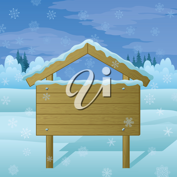 Wood sign for text on background of winter landscape