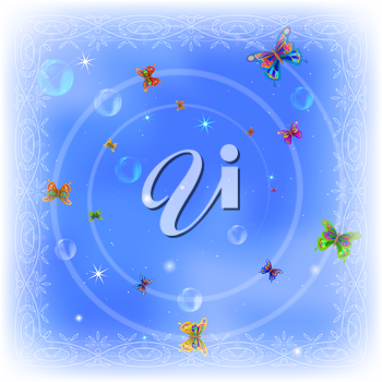 Holiday background, beautiful colorful butterflies, bubbles and stars on blue sky. Eps10, contains transparencies. Vector