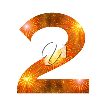 Mathematical sign, number two, stylized gold and orange holiday firework with stars and flares, element for web design. Eps10, contains transparencies. Vector