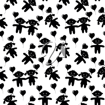 Seamless Valentine holiday background with children, boys and girls with hearts balloons, black silhouettes isolated on white. Vector