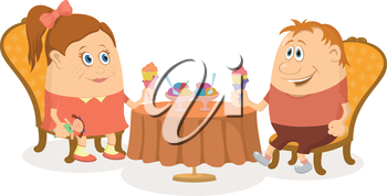 Two little children, boy and girl sitting near table and eating ice cream, funny cartoon illustration, isolated. Vector