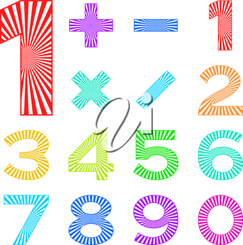 Signs of numbers and mathematical signs decorated with radial rays. Vector