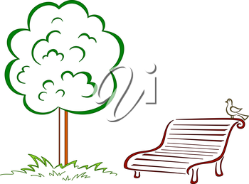 Park bench with a small bird costs under a green tree