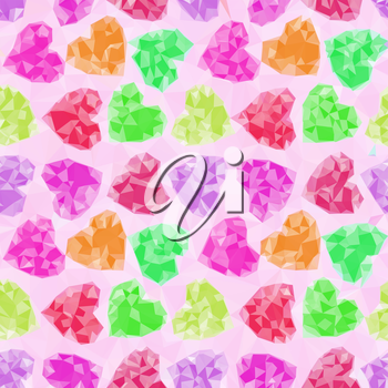 Valentine Holiday Background with Color Hearts, Polygonal Low Poly Design. Vector