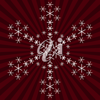 White snowflake from snowflakes on the background with rays. Vector