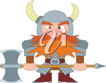 Dwarf, redhead warrior in armor and helmet standing with battle ax, funny comic cartoon character. Vector