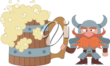 Drunken dwarf warrior in armor and helmet standing near the giant beer mug, funny comic cartoon character. Vector