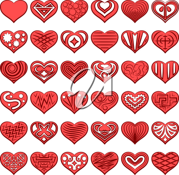 Set of Red Valentine Hearts with Abstract Black and White Patterns, Holiday Symbols of Love. Vector