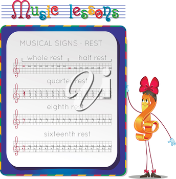 Music lessons, exercises for children. development of skills for writing and drawing. Handwriting Practice Worksheets. Draw a musical signs