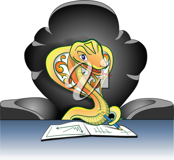 a cobra negotiating in a green arm-chair