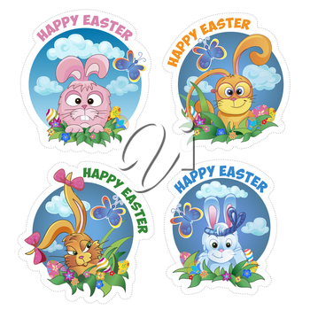 Set sticker with rabbit and text happy Easter