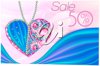 Sale as нeart of gems and ribbons 3D. Card for wedding, Valentine's Day, March 8