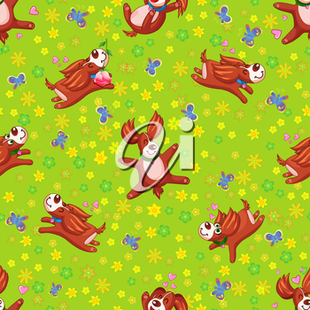 Seamless background happy puppy. Endless texture can be used for background tissue,  wrapping paper