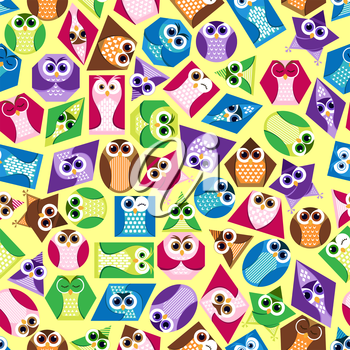 seamless background with funny colored shapes in the form of an owl