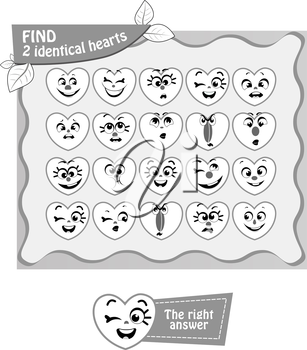 visual game, coloring book for children. Task: Find 2 identical hearts.black and white vector illustration