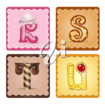 Cards for children for learning the alphabet. Letters  r,s,t,u as chocolate, in the form of candies and cakes . Vector Illustration