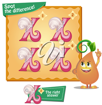 Visual Game for children. Task: Spot the difference letters x