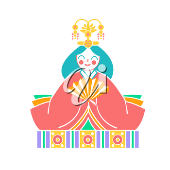 Icons Japanese  empress dolls Icon in the linear style.
