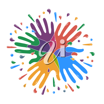 Abstract icon in the form of intertwined hands, palms and drops. concept of unity, sun, interaction, modernity Holi Festival