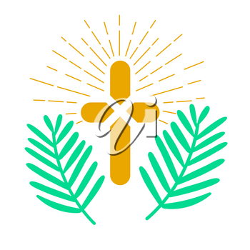 Icon holiday - palm Sunday. Icon in the linear style