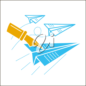 The concept of freedom of speech, freedom of the press, in the form of flying paper airplanes and a pen that writes on them. Icon in the linear style