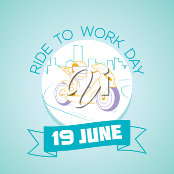 Calendar for each day on  june  19. Greeting card. Holiday -  Ride to Work Day. Icon in the linear style